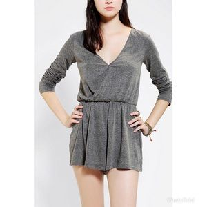 Urban Outfitters Gray Ecote Knit Surplice Romper
